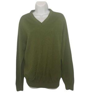 Olive Green Long Sleeves Merino Wool Sweater